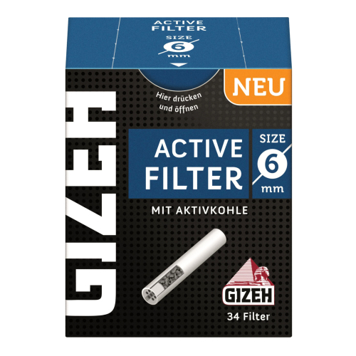 Gizeh Black Active Kohle Filter 6mm 34 St/Pck